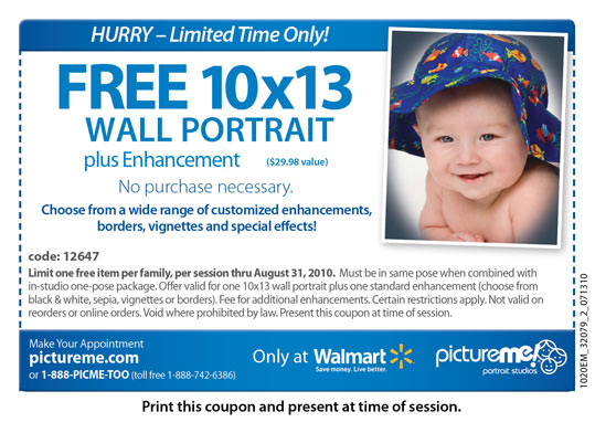 FREE 10X13 Wall Portrait at Walmart