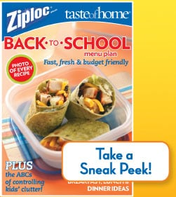 FREE Ziploc Back to School Menu Planner From Taste of Home!