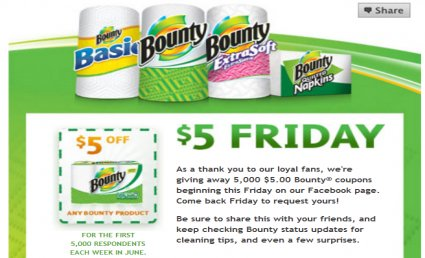 graphic regarding Bounty Printable Coupons titled fb: $5.00 Bounty coupon this Friday! - ConsumerQueen
