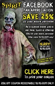 picture regarding Spirit Halloween Printable Coupon referred to as Spirit Halloween Retail outlet 25% printable coupon (legitimate 10/10