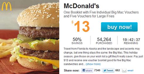 Mcdonalds vouchers booklet