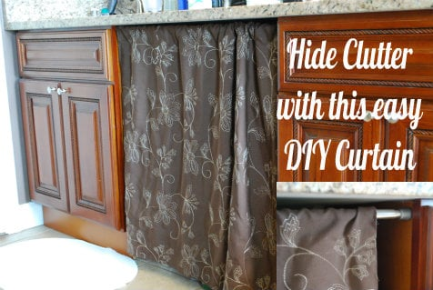 DIY Under the Sink Curtain! Hide the clutter the cute way!