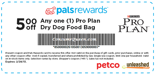 graphic about Purina Pro Plan Coupons Printable called PETCO PalsRewards: 5.00 off Any Professional Program Puppy Foods Absolutely free Can