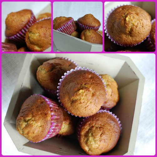 peach and banana muffins collage