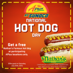 Free Nathan's Hot Dog at Sunoco on July 20th