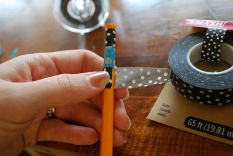 washi tape, wrapping the pencil