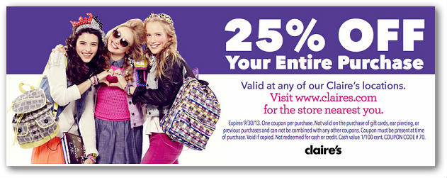 graphic regarding Claires Coupon Printable identified as Claires coupon