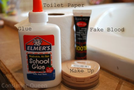 Tutorial how to do zombie makeup with items from home - Zombie scars with glue ...