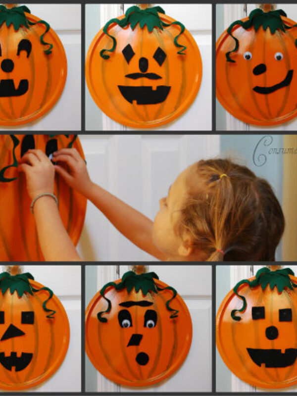 DIY Halloween Craft: Pizza Pan Pumpkin! Great craft for the kids and under $5!