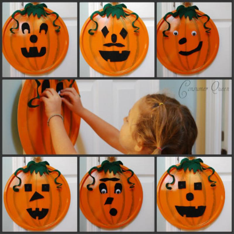DIY Halloween pizza pan pumpkin