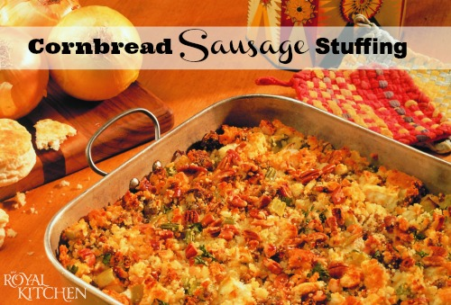 Cornbread Sausage Stuffing Recipe with Apples and Pecans