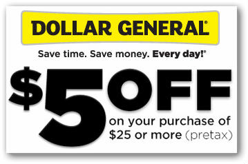 Dollar General: $5 off $25 Purchase Today Only!