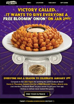 FREE Bloomin' Onion at Outback Steakhouse 1/2