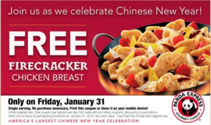 Free Firecracker Chicken at Panda Express