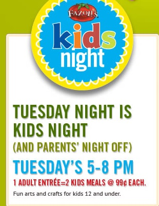 99¢ Kids Meals at Fazolis Kids Night