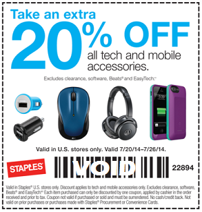 Staples 20 Off Coupon