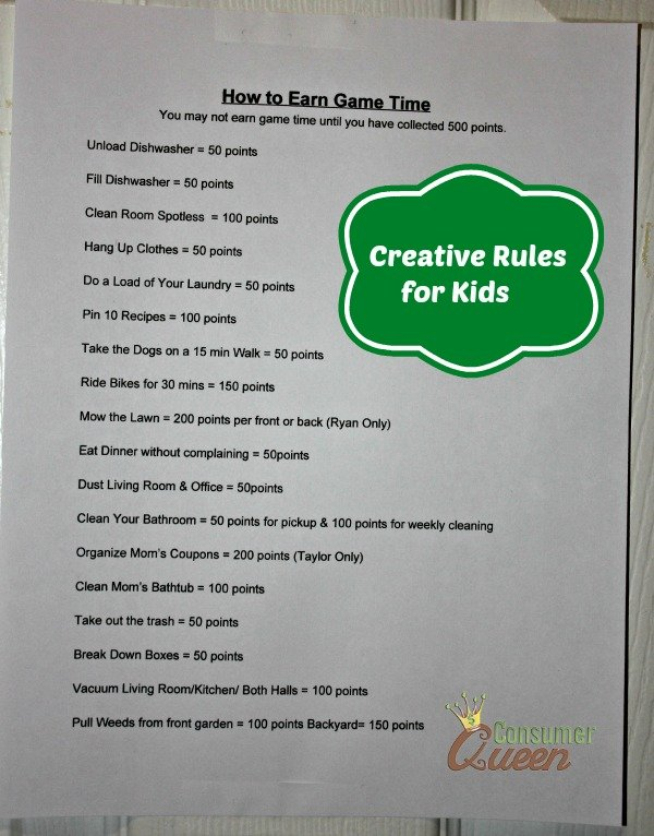 Creative Rules For Kids – Earn Game Time