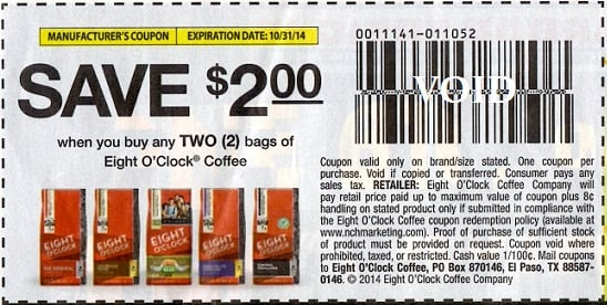 Eight o clock coffee printable coupon 2018