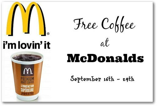 FREE Coffee at McDonalds 9/16 – 9/29!