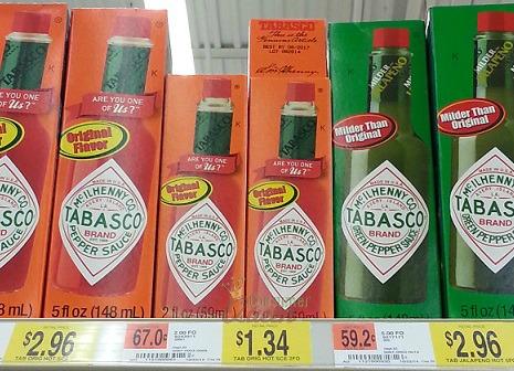 Tabasco Sauce Only 34¢ at Walmart!: http://consumerqueen.com/saving-money-2/store-matchups/walmart-deals/tabasco-sauce-34%C2%A2-walmart