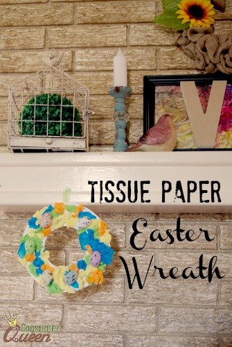 tissue paper easter wreath 4