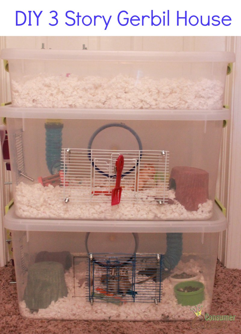 How to DIY Three Story Gerbil Cage Also Good For Hamsters  sc 1 st  ConsumerQueen.com & DIY Three Story Gerbil Cage Also Good For Hamsters