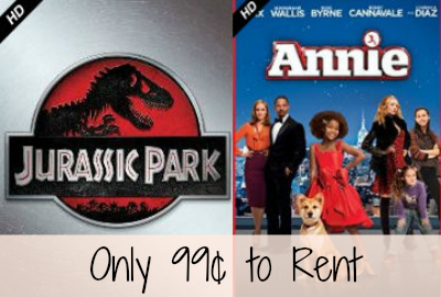 Rent Jurassic Park or Annie HD Movies For Only 99¢ Each!