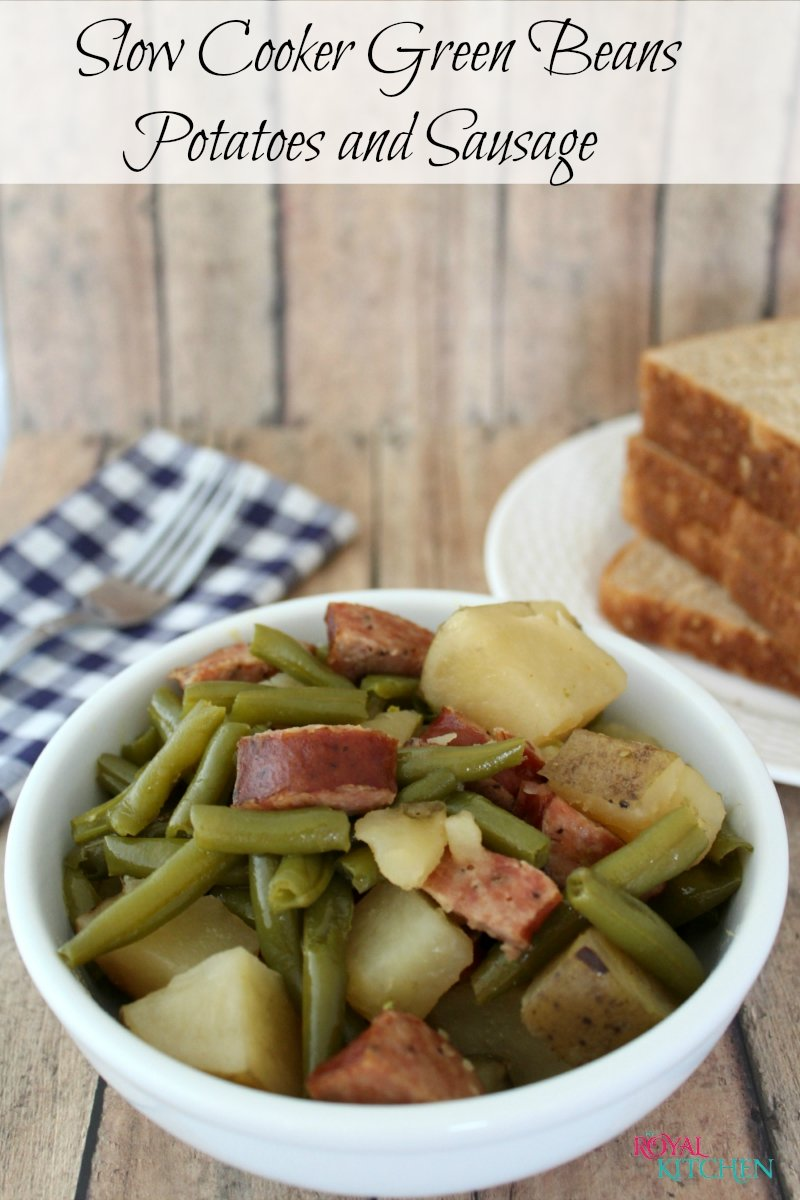 Slow Cooker Green Beans Potatoes and Sausage
