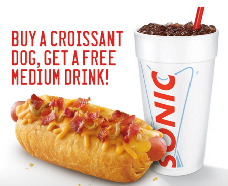Free Medium Sonic Drink With Croissant Dog Purchase!