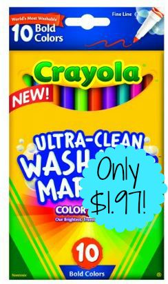 10-Count Crayola Ultraclean Fineline Bold Markers only $1.97 Shipped!