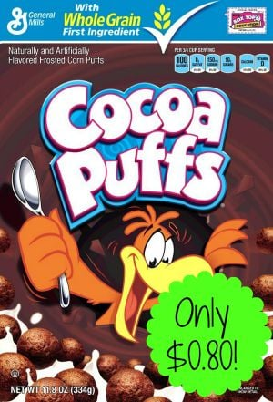 Cocoa Puffs & Apple Jacks Cereal only $0.80 (reg $2.99) Each at Target!