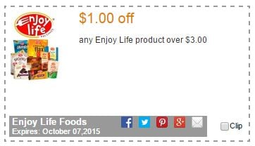 Coupon For $1.00 Off Any Enjoy Life Product Over $3.00!