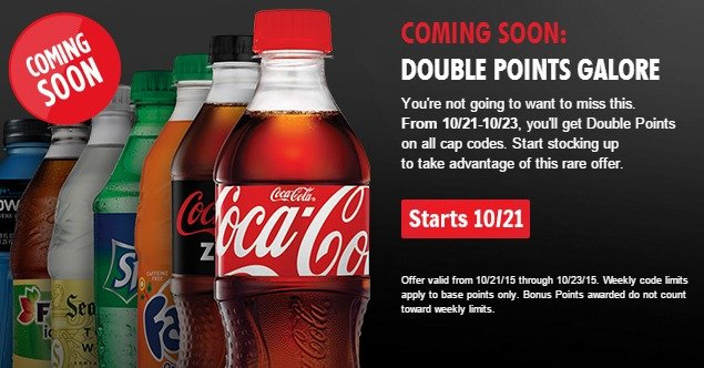 My Coke Rewards: Double Points on ALL Cap Codes – Starts 10/21