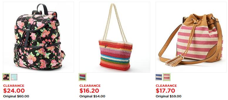Women's Handbags & Backpacks: save 60% + Additional 15% Off at Kohls