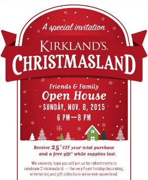 Kirkland's Christmasland Open House Today Only!  25% off entire purchase!