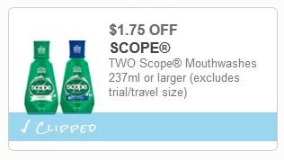 Scope Mouthwash 60¢ at Walgreens
