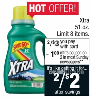 Xtra Laundry Detergent $1.00 This Week at CVS!