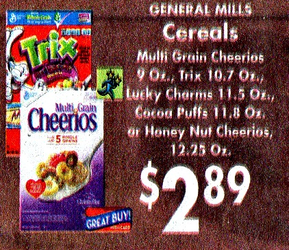 Trix & Cocoa Puffs Cereal 89¢ at Homeland!