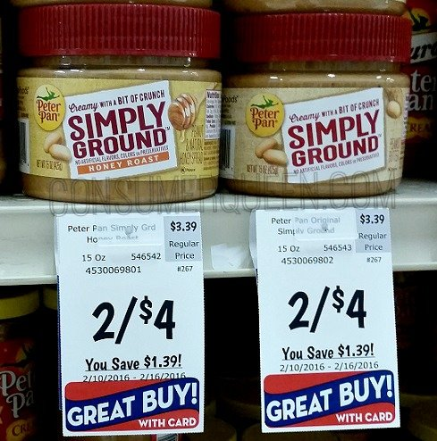 Peter Pan Simply Ground Peanut Butter $1.00 at Homeland!
