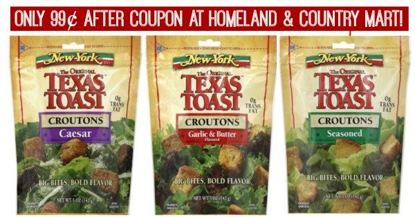 New York Texas Toast Croutons 99¢ at Homeland!