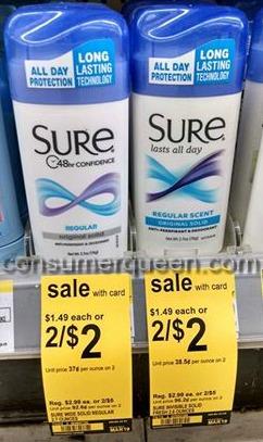 Brut or Sure Deodorant as low as 25¢ at Walgreens