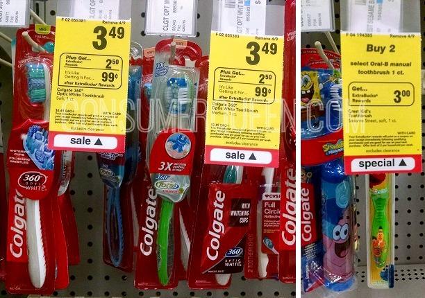 CVS: Colgate Toothbrushes 24¢, Oral-B Kid's 94¢!