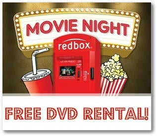 FREE Redbox DVD Rental (text offer) Good thru 3/31!
