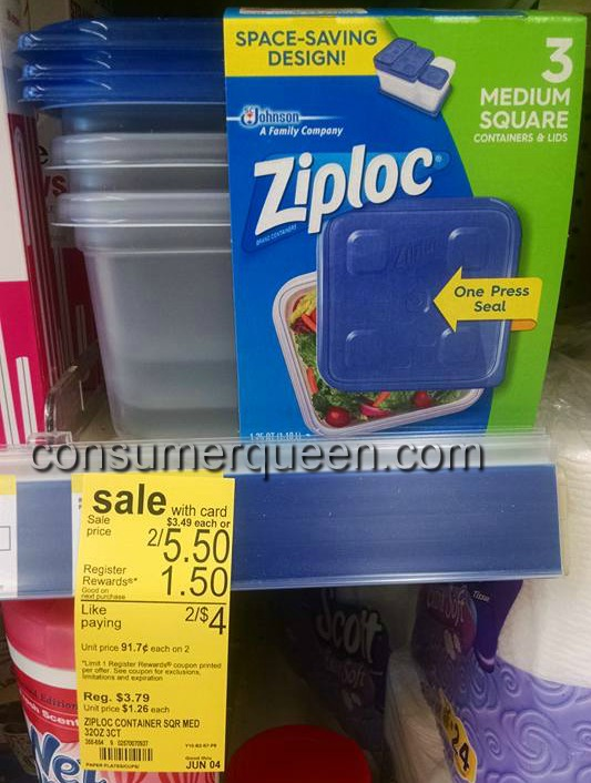 Ziploc Containers 36¢ Each at Walgreens