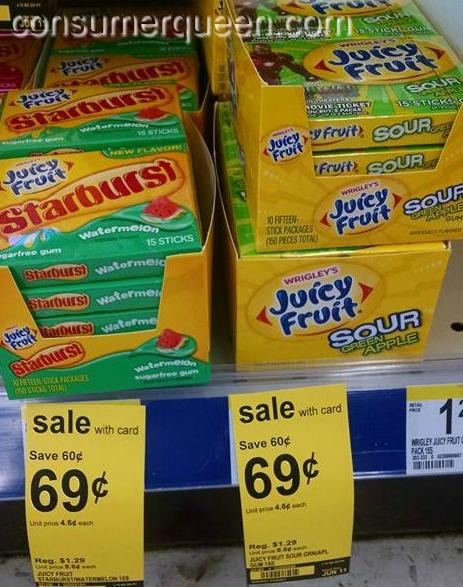 Skittles or Juicy Fruit 44¢ at Walgreens