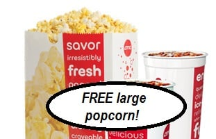 FREE Large Popcorn at AMC Theatres