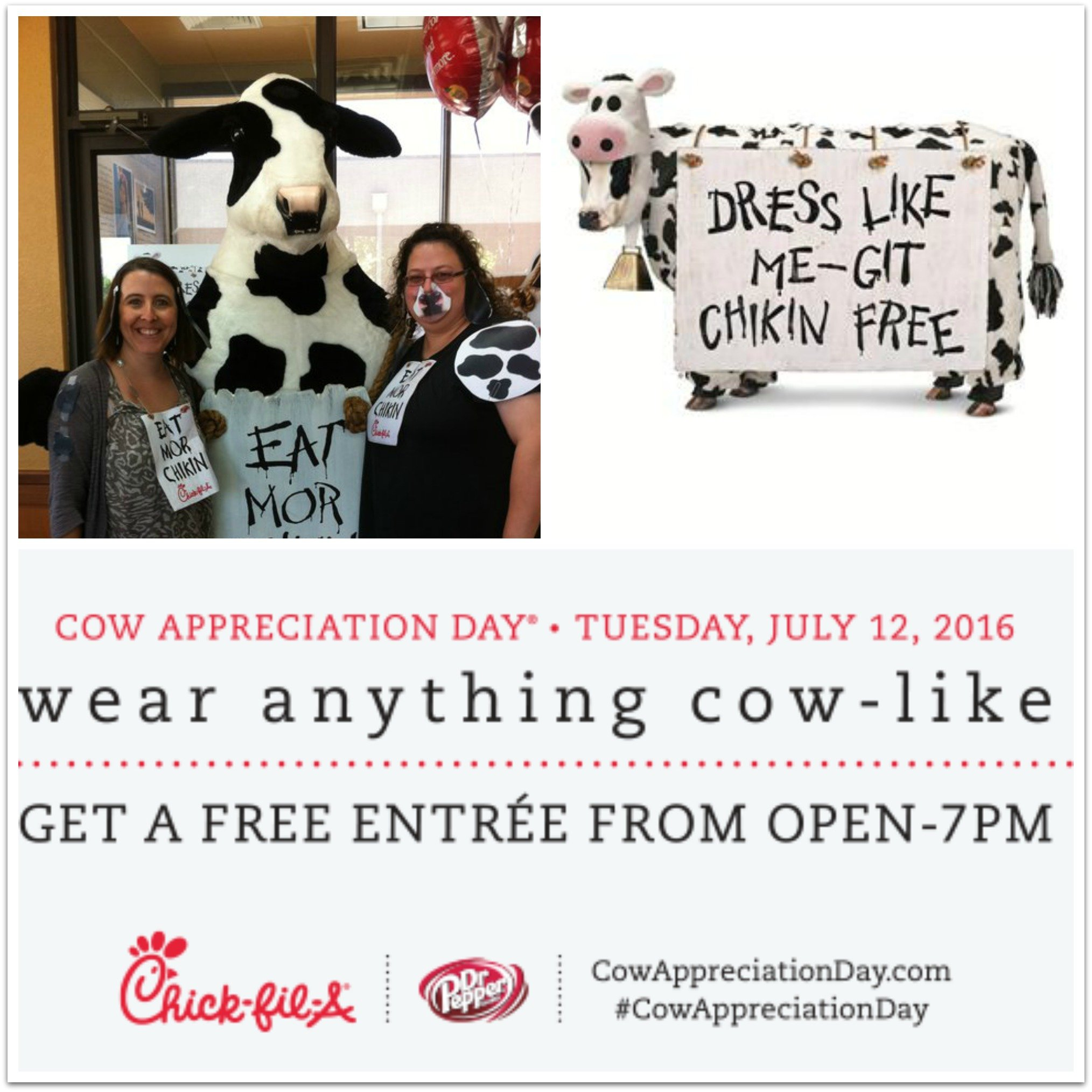 Chick fil-A: Dress Like a Cow July 12- Get a FREE Entree!