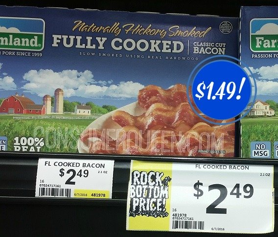Farmland Fully Cooked Bacon $1.49 at Crest Foods!