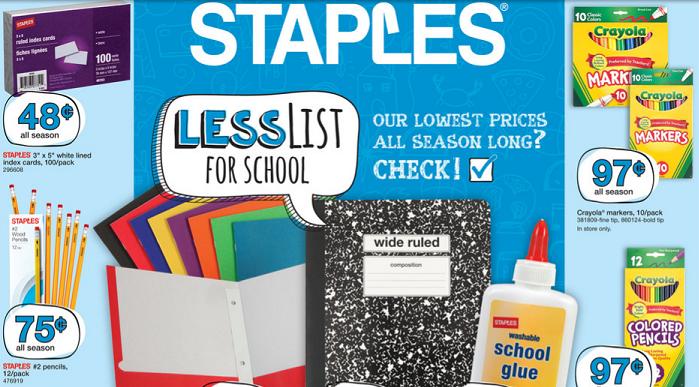 Staples Back to School Deals 8/28 – 9/3