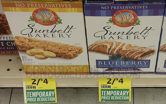 Sunbelt Bakery Bars $1.25 at Crest Foods!